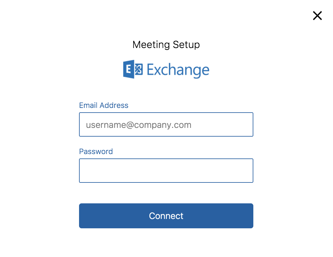 the meeting setup exchange pop up appears