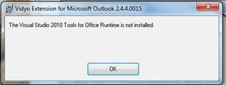 Unable to install vidyo outlook plugin vidyocloud support - Visual studio tools for office runtime ...