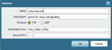 Palo Alto Networks Firewall Configuration for Vidyo – VidyoCloud Support