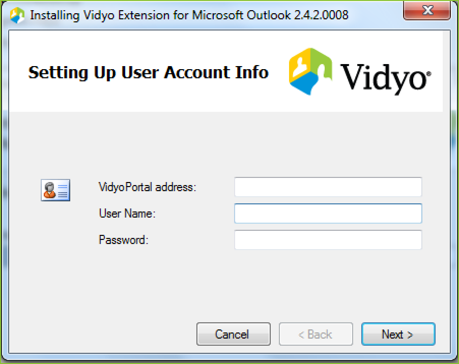 Installing the vidyo extension for microsoft outlook 2010 2013 you will be asked to enter the server address user name and password the first time you generate an invitation to a vidyo meeting using outlook stopboris