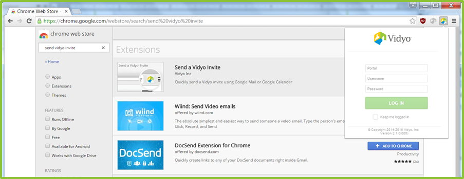 Installing and Logging into the Vidyo Extension for Google