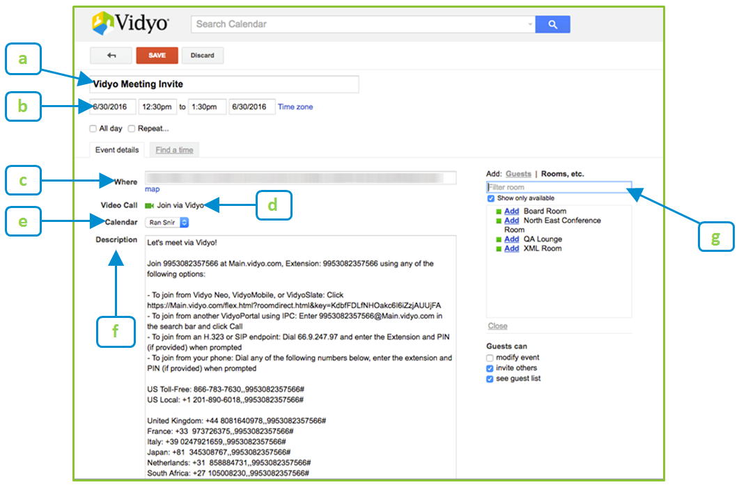 Sending meeting invitations using google calendar with vidyo enter each guest or room you want to invite to the meeting stopboris Image collections